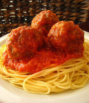 Spaghetti and Vegan Meatballs