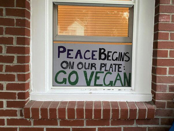 """Poster in window reading """"Peace begins on our plates. Go vegan!"""