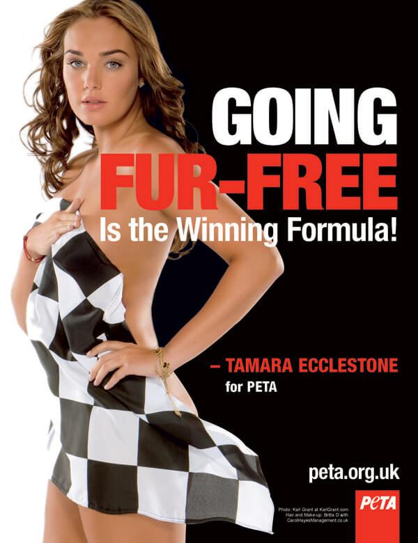 tamara ecclestone fur free winning formula ad PETA UK