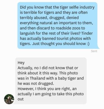 Tinder, Tiger selfies, Outreach, Activism