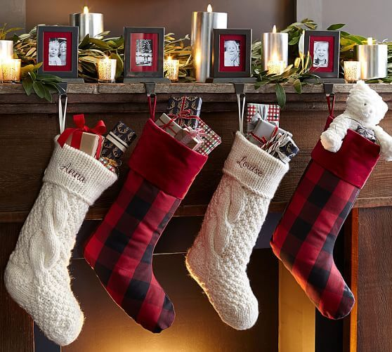 plaid and knit stockings on fireplace