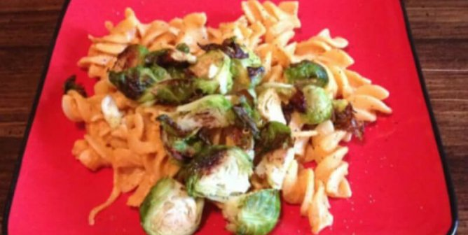 Chipotle Mac and 'Cheese' With Roasted Brussels Sprouts