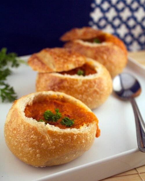 Tomato and Bread Bowl 'Soupetizers'