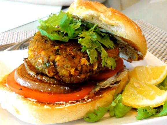 Masala-Tofu Veggie Burgers