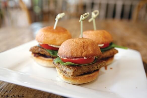 Mini BBQ Tofu Burgers with Broccoli Slaw