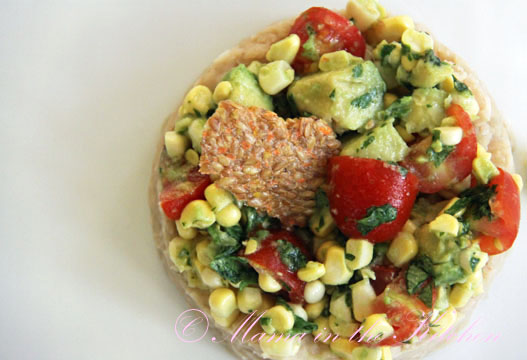Avocado, Corn, and Tomato Salad Over Mashed Beans