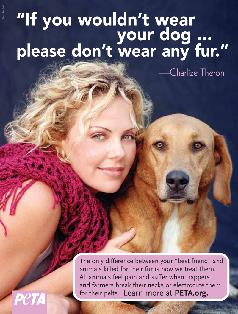 charlize theron dogs the fur trade peta