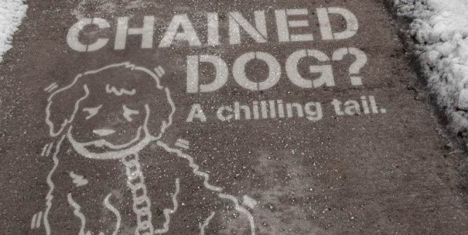 Chained Dog? A Chilling Tail (Sidewalk Stencil)