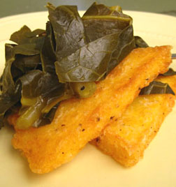Slow-Cooked Collards Over Polenta Cakes