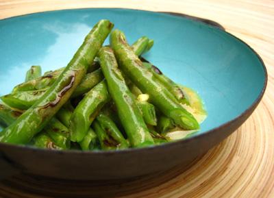 Grilled Green Beans in Mustard Vinaigrette