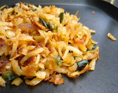 Poblano and Onion Hash Browns