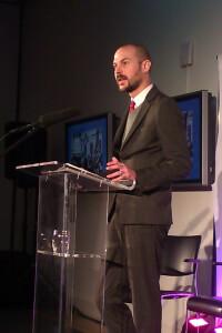 LUSH Prize Public Awareness Award Justin Goodman at podium