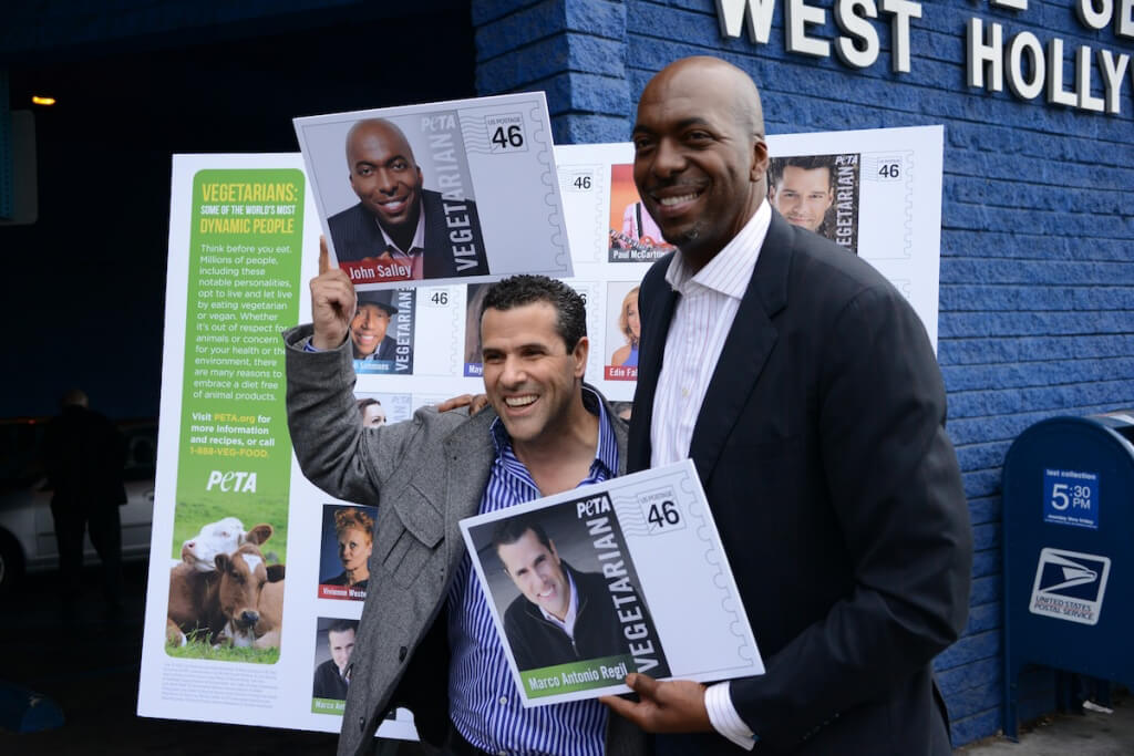 Marco Antonio Regil and John Salley at 2013 Stamp Launch