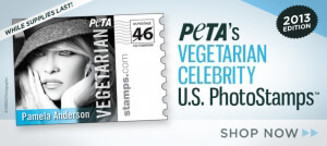 PETA's Vegetarian Celebrity Stamps Shop Now Button 2013