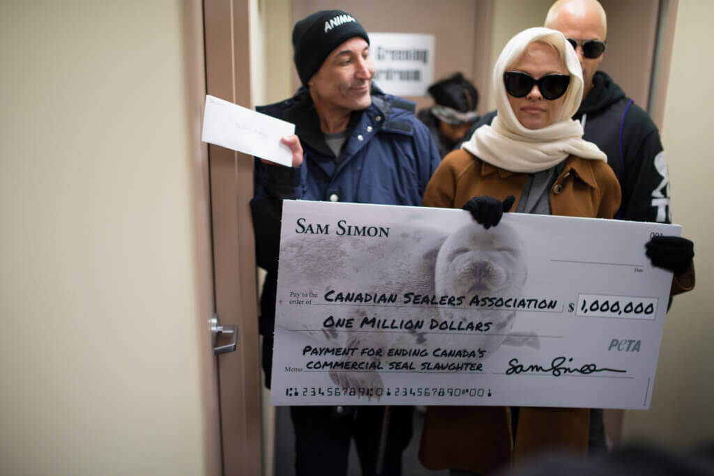 Sam Simon and Pam Anderson Million Dollar Check to End Seal Slaughter