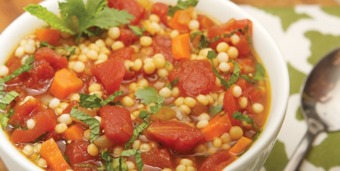 Mayim Bialik's Tomato Soup With Israeli Couscous Recipe