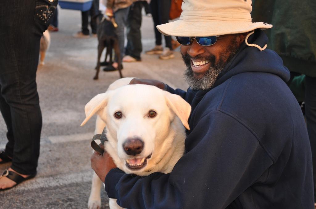 White Dog with Guardian PETA Spayathon 2014
