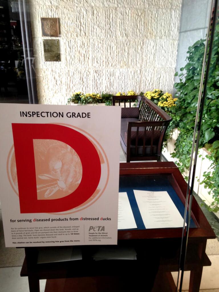 New York Restaurant gets D from PETA