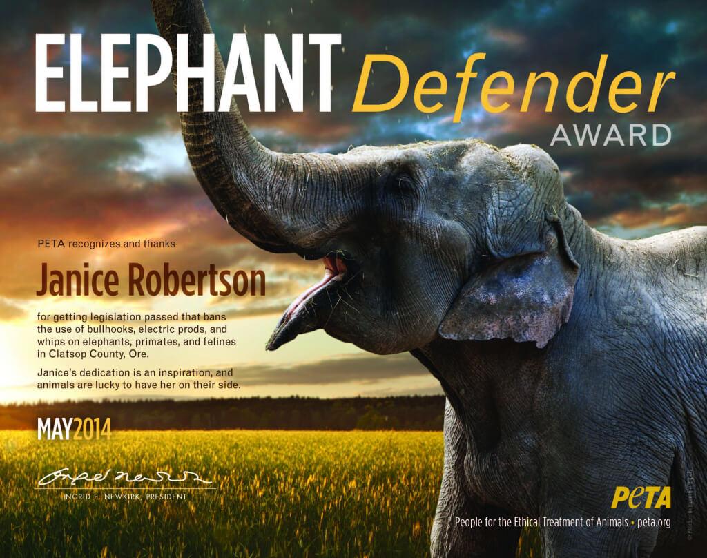 Elephant Defender Award for Janice Robertson