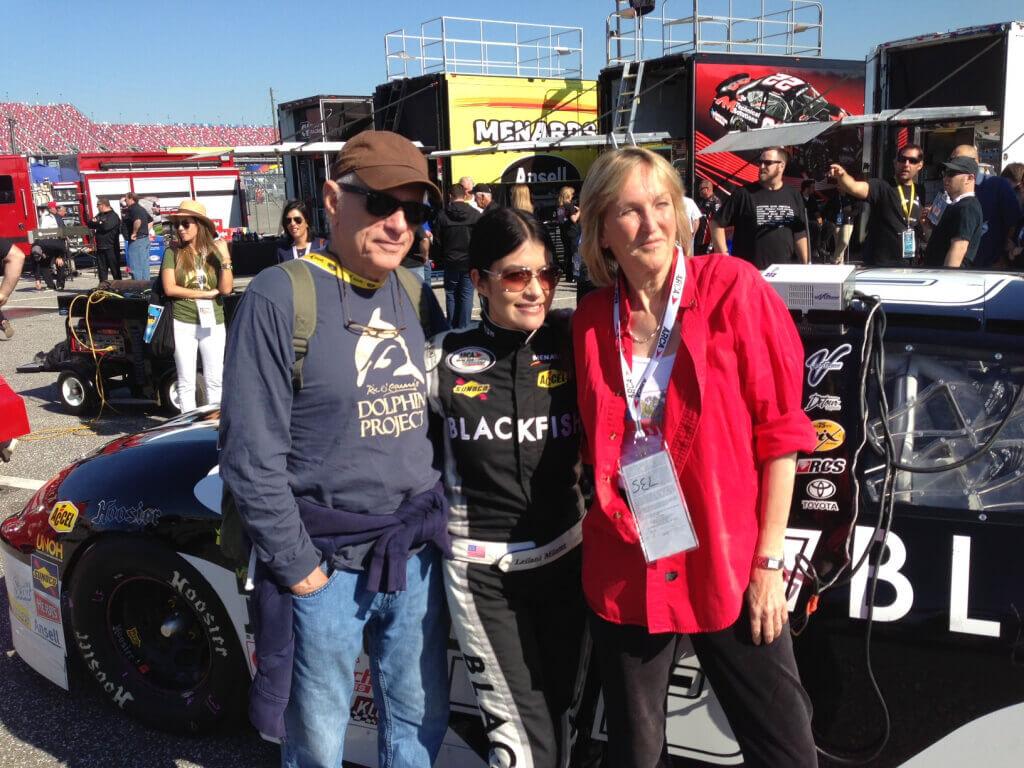 Ingrid Newkirk with Blackfish Racecar at Talladega Speedway