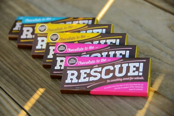 vegan candy bars in colorful packaging