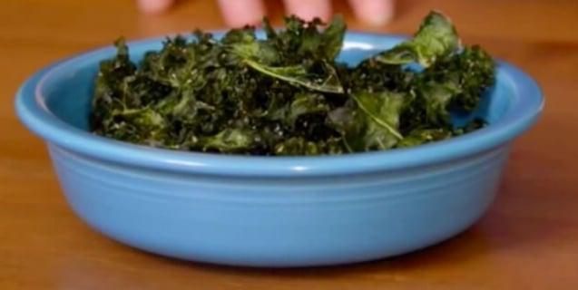 Blue bowl of vegan kale chips