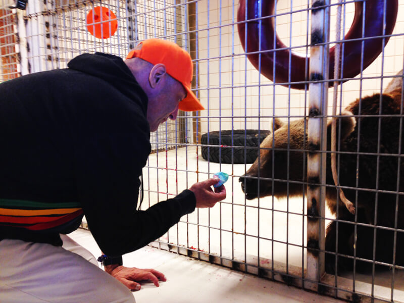 Sam Simon with a Rescued Bear