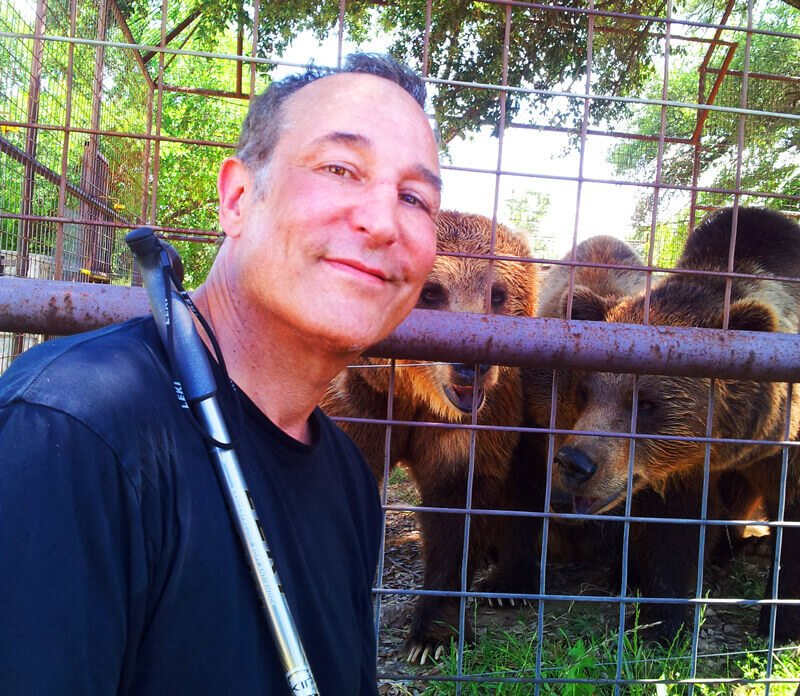 Sam Simon with rescued bears