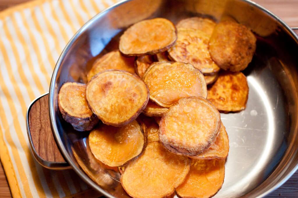 Sliced Baked Sweet Potato Rounds