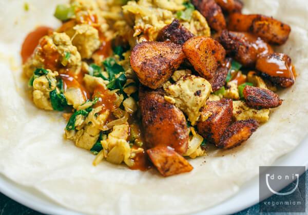 Breakfast Burrito with Tandoori Scramble, Vegan Miam