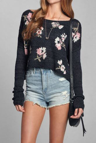 Abercrombie & Fitch Crop Floral Sweater