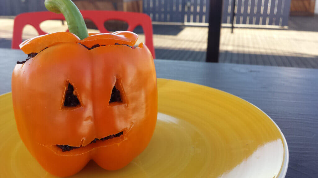super easy halloween recipe scary stuffed bell peppers peta