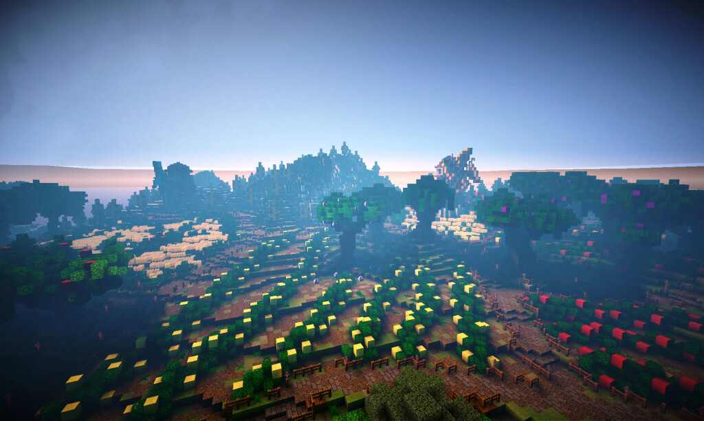 PETA's Minecraft island has an abundance of farm land for growing fruits and vegetables.