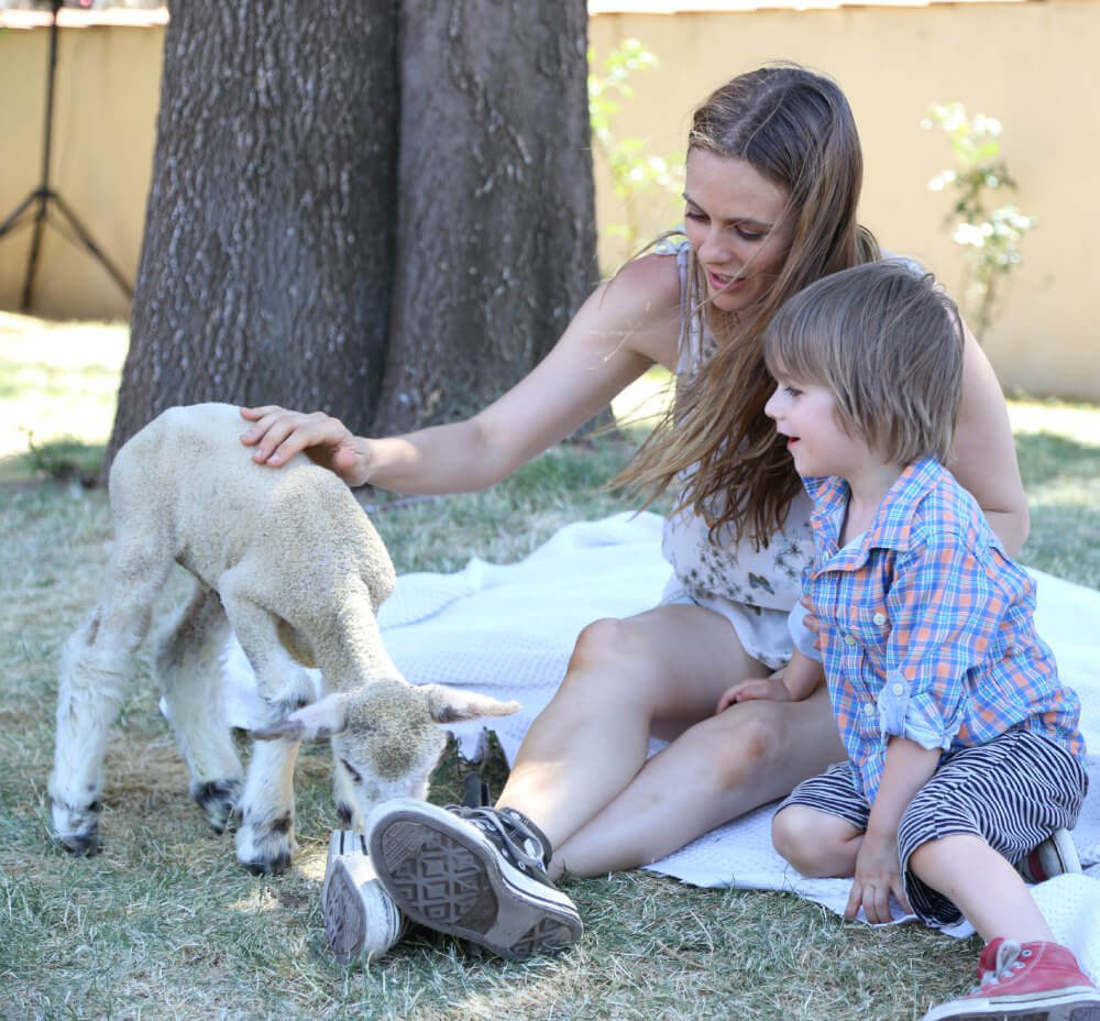 Alicia Silverstone and Son with Lamb