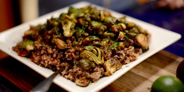 Maple Sriracha Roasted Brussels Sprouts With Cranberry