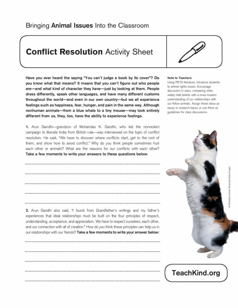 Worksheet Conflict Resolution Worksheets conflict resolution lesson plans and activities activity sheet teachkind worksheet