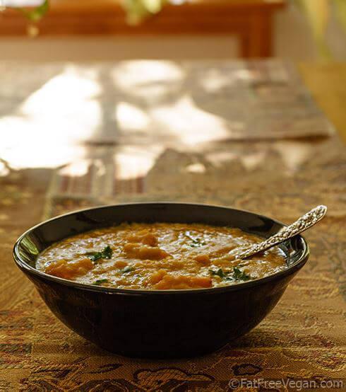 Yellow Split Pea Soup with Sweet Potato and Kale