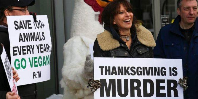 Pretenders singer Chrissie Hynde at a Thanksgiving PETA demonstration
