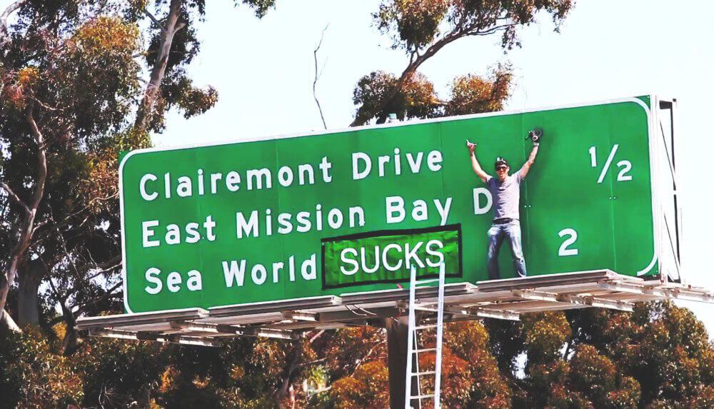 Steve-O SeaWorld Freeway Sign