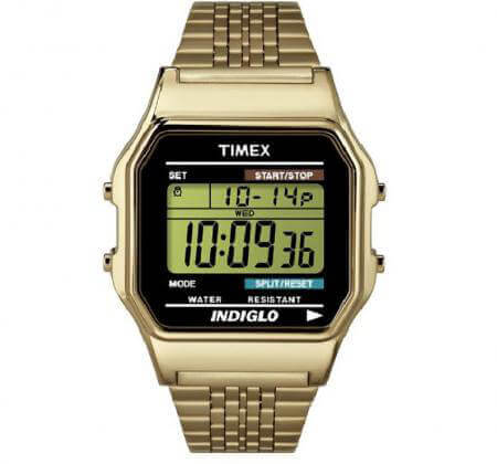 Timex's Classic Digital Goldtone Bracelet with black lens
