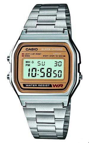 Casio chrome and gold digital watch