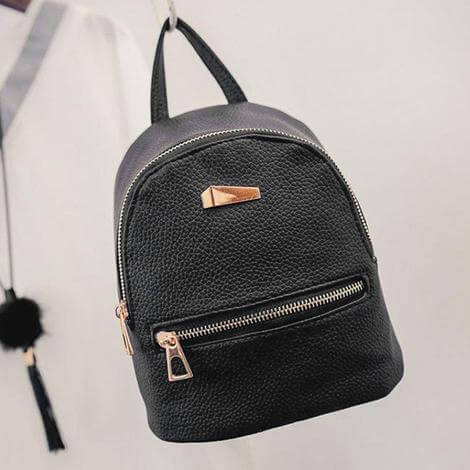 Foe Leather Brand Small Black Backpack