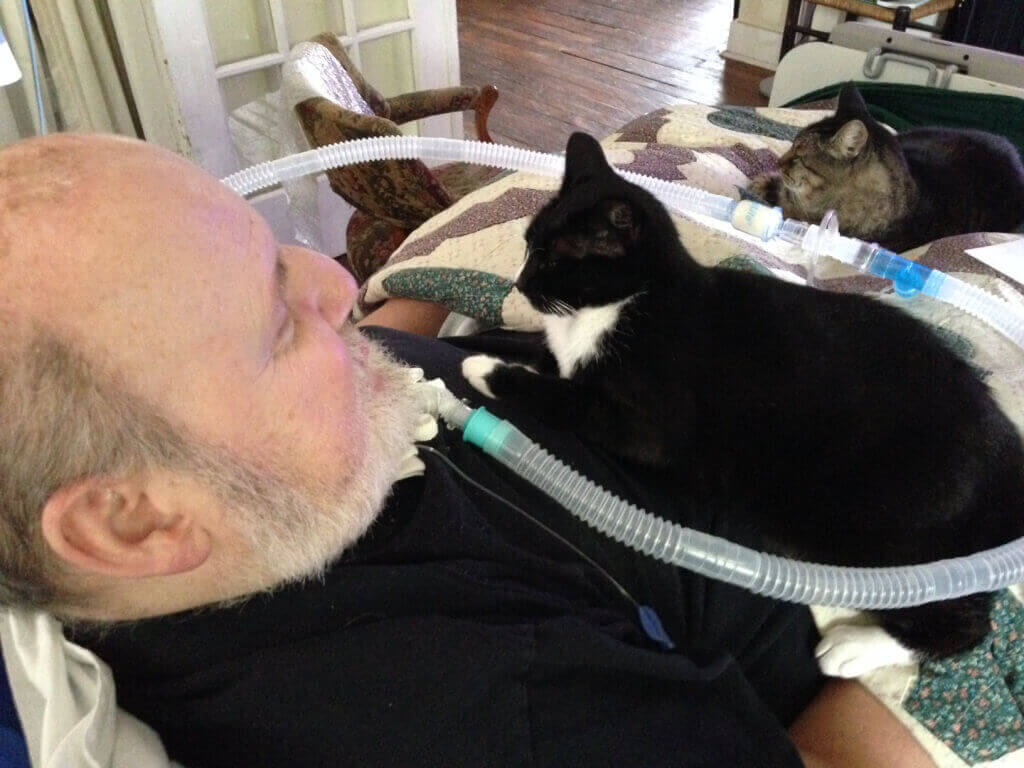 Artist Robert Rehm With His Cats Maggie and Stripeedo