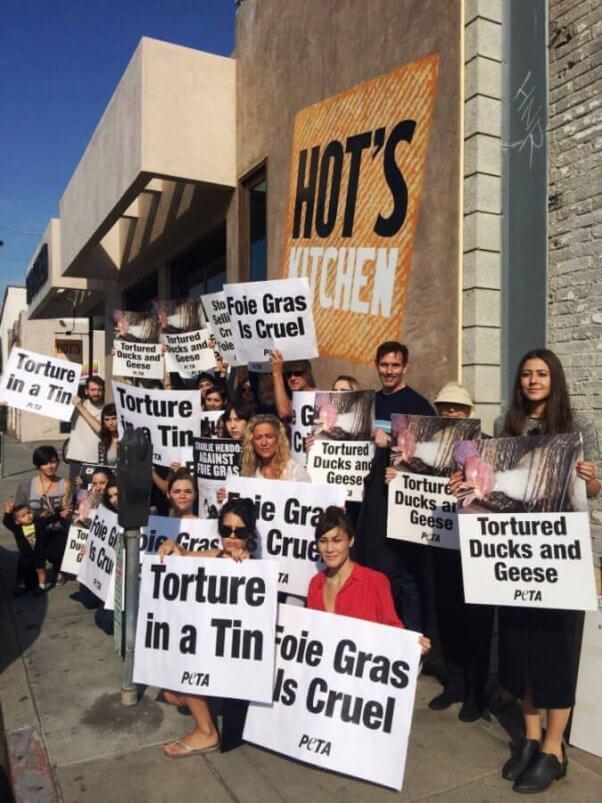 what is foie gras - PETA demo in CA