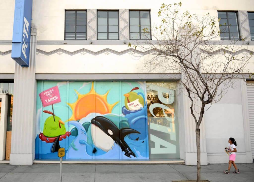 Anti-SeaWorld Mural by LA Graffiti Artist Cache at Bob Barker Building