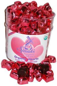 sjaaks vegan valentine's day candy dark chocolate hearts