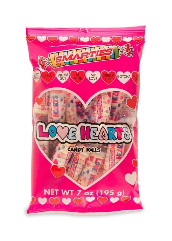 bag of smarties love hearts candies