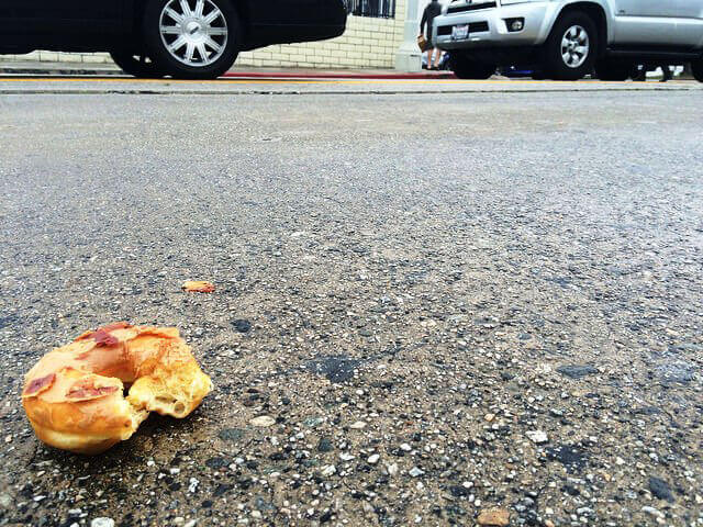 Bacon Doughnut Thrown at Protesters at BaconFest 2015