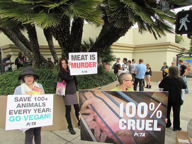 Protesters Outside BaconFest 2015