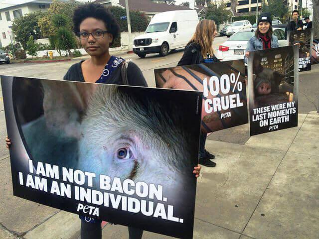 Demonstrators Outside BaconFest 2015